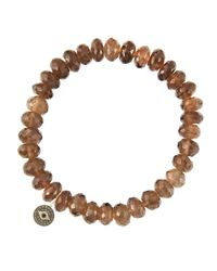 Sydney Evan | Brown 8Mm Faceted Smoky Quartz Beaded Bracelet With 14K Gold/Diamond Round Evil Eye Charm (Made To Order) | Lyst
