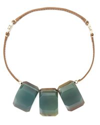 Marni - Brown Three Stone Pendant Necklace - Lyst
