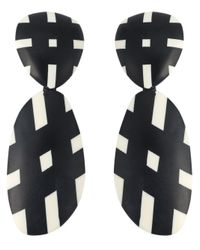 Monies | Black Checked Pendant Earrings | Lyst