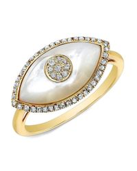 Anne Sisteron - 14kt Yellow Gold White Mother Of Pearl Diamond Evil Eye Ring - Lyst