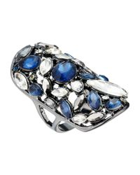 Guess - Blue Clustered Stone Knuckle Ring - Lyst