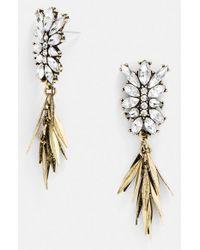 BaubleBar - White 'fringe Fir' Drop Earrings - Clear/ Antique Gold - Lyst