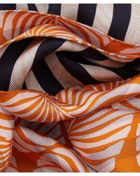 Paul Smith - Orange Palm Leaf Strip Silk Scarf - Lyst