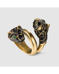 Gucci | Metallic Tiger Head Ring With Black Enamel for Men | Lyst