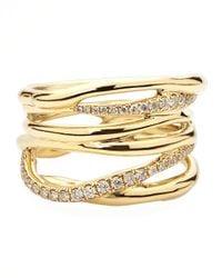 Ippolita - Metallic Drizzle 18k Gold Diamond Crossover Ring - Lyst