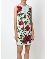 Dolce & Gabbana | Black Rose Print Brocade Dress | Lyst