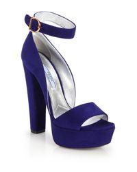 Prada | Blue Suede Platform Sandals | Lyst