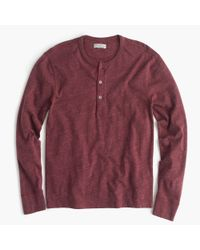 J.Crew | Red Flagstone Marled Henley for Men | Lyst