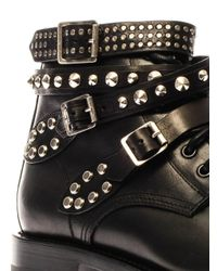 Saint Laurent - Black Rangers Studded Leather Boots - Lyst