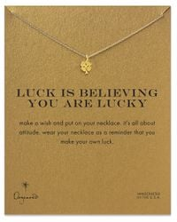 Dogeared | Metallic Luck Is Believing You Are Lucky Shamrock Necklace | Lyst