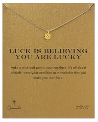 Dogeared - Metallic Luck Is Believing You Are Lucky Shamrock Necklace - Lyst
