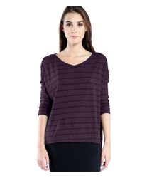 Michael Stars | Black Stripe Relaxed V Neck 3/4 Sleeve Tee | Lyst