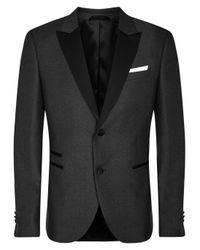Lyst neil barrett charcoal wool tuxedo jacket in gray for Neil barrett tuxedo shirt