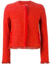 Akris - Red Fringed Tweed Jacket  - Lyst