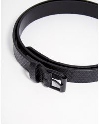 ASOS - Skinny Belt With Cross Hatch Emboss And Black Coated Buckle for Men - Lyst