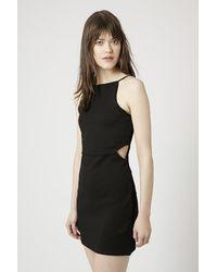 TOPSHOP | Black Petite Square Neck Cut-Out Bodycon Dress | Lyst