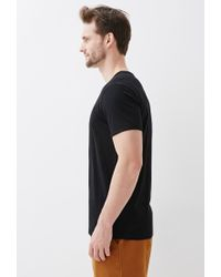 Forever 21 - Black Contrast Trim Henley Tee for Men - Lyst