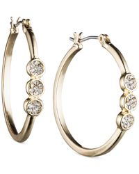 Nine West | Metallic Crystal Disc Hoop Earrings | Lyst