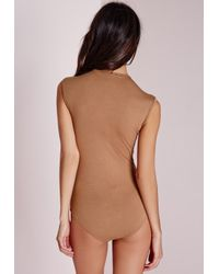 Missguided | Natural Sleeveless Bodysuit Camel | Lyst