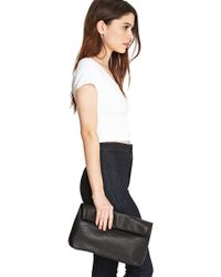 Forever 21 - Black Faux Leather Roll-Top Clutch - Lyst