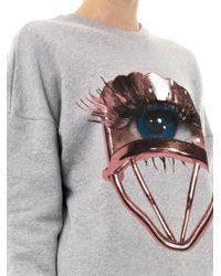 MSGM | Gray Eyeprint Cotton Sweatshirt | Lyst