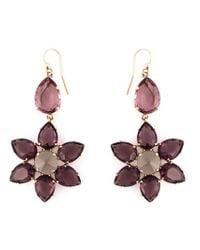 Alberta Ferretti - Pink Crystal Flower Drop Earrings - Lyst