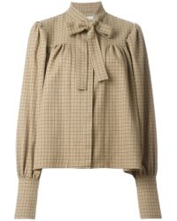 J.W.Anderson - Natural Gathered Blouse With Neck Tie - Lyst
