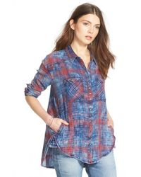 Free People - Blue Faded Plaid Double Cloth Shirt - Lyst