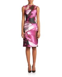 ML Monique Lhuillier - Purple Printed Sheath Dress - Lyst