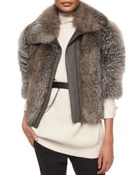Brunello Cucinelli - Gray Fox Fur & Wool-blend Coat - Lyst