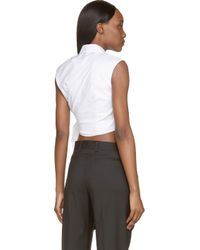 J.W.Anderson | White Side Knot Cropped Shirt | Lyst