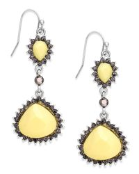 INC International Concepts - Silver-tone Yellow Bead Teardrop Earrings - Lyst