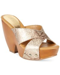 Guess | Gray Women'S Verney Platform Wedge Sandals | Lyst
