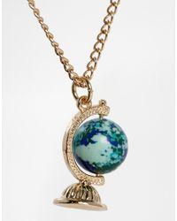 ASOS - Metallic Globe Charm Long Necklace - Lyst