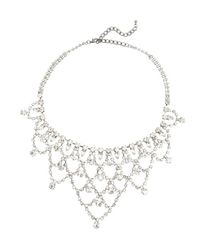 Kenneth Jay Lane - Metallic Silver And Crystal Bib Necklace - Lyst