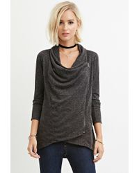 Forever 21 - Gray Marled Asymmetric-front Sweater You've Been Added To The Waitlist - Lyst