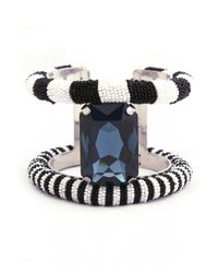 Forest Of Chintz | Blue Crystal And Beads Cuff Bracelet | Lyst