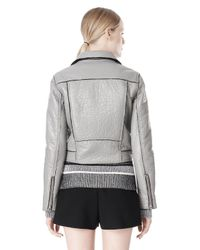 Alexander Wang - Gray Bonded Leather Motorcycle Jacket - Lyst