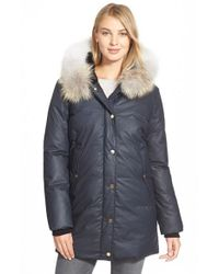 SOIA & KYO - Blue 'Benedicte' Genuine Fox Fur Trim Down Parka - Lyst
