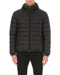 Armani Jeans | Black Hooded Down Puffa Jacket for Men | Lyst