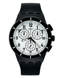 Swatch - White Unisex Swiss Chronograph Twice Again Black Silicone Strap 42mm Susb401 for Men - Lyst