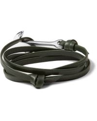 Miansai - Green Leather And Metal Anchor Wrap Bracelet for Men - Lyst