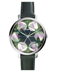 Fossil | Green 'jacqueline' Leather Strap Watch | Lyst