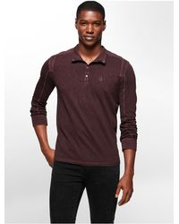 Calvin Klein | Purple Jeans Slim Fit Pigment Dye Snap Neck Cotton Slub Shirt for Men | Lyst