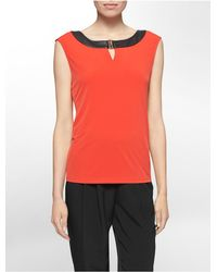 Calvin Klein | Red White Label Faux Leather Trim Hardware Sleeveless Top | Lyst