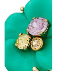 Nina Ricci - Green Goldtone Resin and Crystal Ring - Lyst