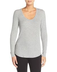 Midnight By Carole Hochman - Gray Ribbed Top - Lyst