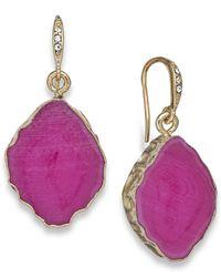 ABS By Allen Schwartz - Gold-Tone Pink Stone Drop Earrings - Lyst
