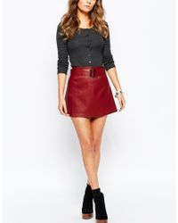 Glamorous   Red Leather Look Aline Mini Skirt With Belt Detail   Lyst