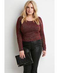 Forever 21 | Purple Plus Size Metallic Knit Crop Top | Lyst